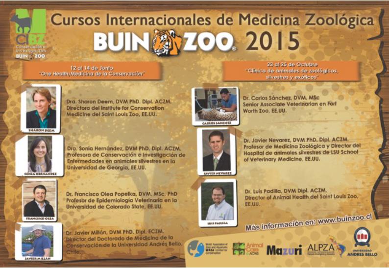 "CONCURSO BECAS 10º CURSO: ""CLINICA DE ANIMALES DE ZOOLÓGICOS, SILVESTRES Y EXÓTICOS"". 23-‐25 de Octubre de 2015 – Buin Zoo"
