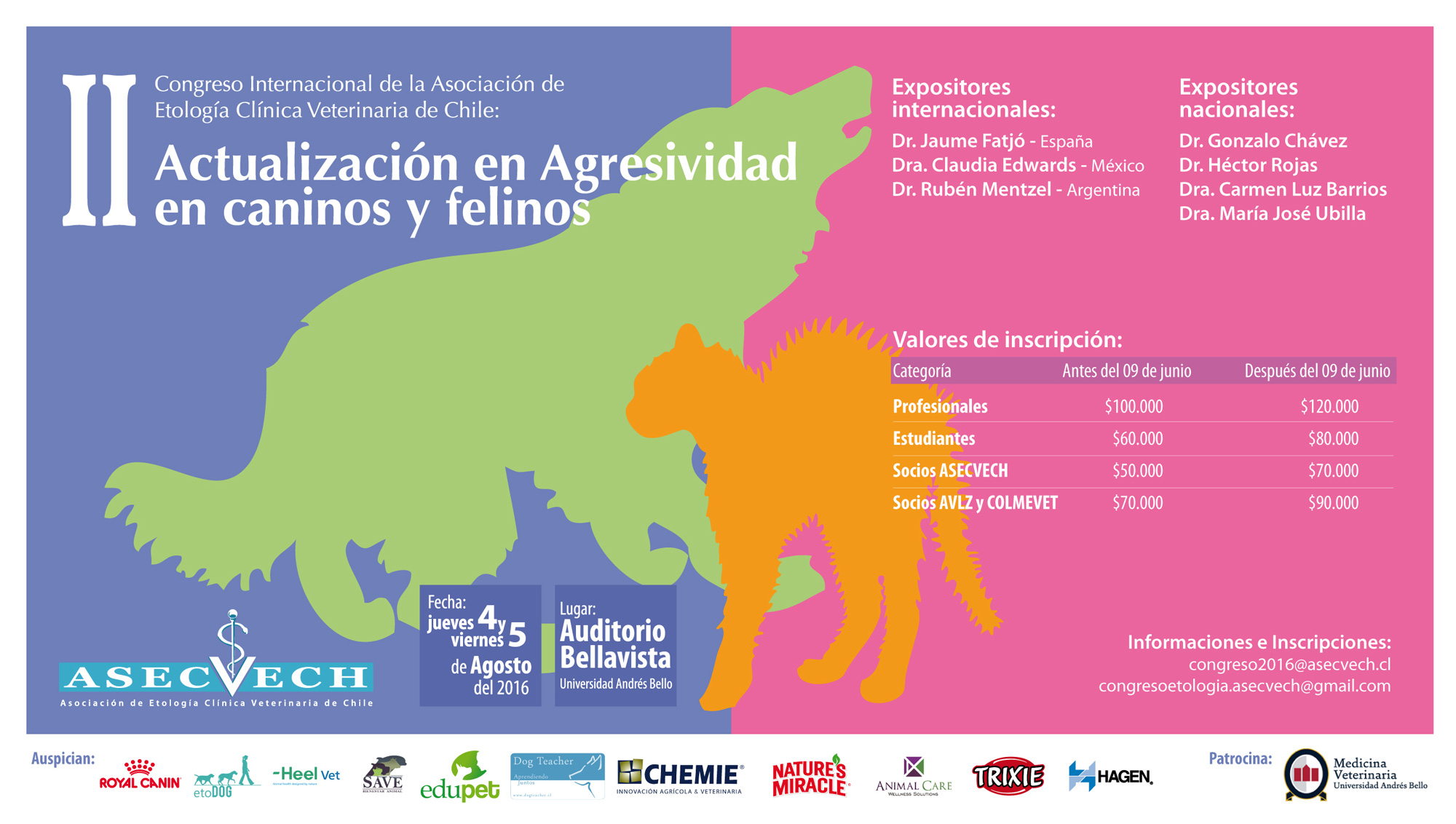 II Congreso Internacional de la Asociación de Etología Clínica Veterinaria de Chile: Actualización en Agresividad en caninos y felinos.